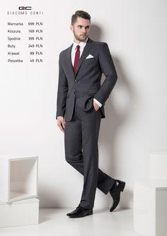 Stylizacja Giacomo Conti: Marynarka Marco 2 15/07 MB, spodnie Marco 15/07 SB, koszula Simone slim 028, buty 750.