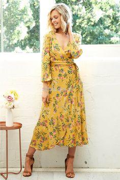 Mimosa Wrap Maxi Dress in Mustard | St. Frock