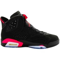 """Nike Jordan 6 """"Infrared"""" ($350) ❤ liked on Polyvore featuring men's fashion, men's shoes, men's sneakers, shoes, jordans, sneakers, men, nike, nike collectors and mens black sneakers"""