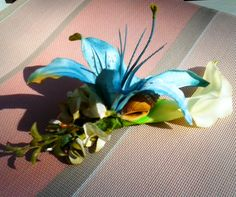 Lily headpiece with Tropical Greenery and Seashells
