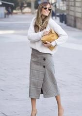 Grey Plaid Button Up Wrap Skirt - S / Grey
