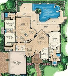 Lanai Access For All - 24104BG | 1st Floor Master Suite, Butler Walk-in Pantry, CAD Available, Corner Lot, Den-Office-Library-Study, Florida, Mediterranean, PDF, Split Bedrooms | Architectural Designs
