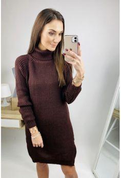 Hnedé svetrové šaty s golfom Turtle Neck, Sweaters, Dresses, Fashion, Vestidos, Moda, Fashion Styles, Sweater, Dress