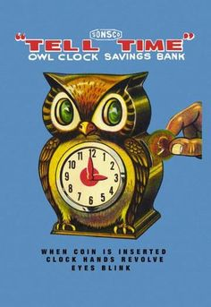 Tell Time Owl Clock 28x42 Giclee on Canvas