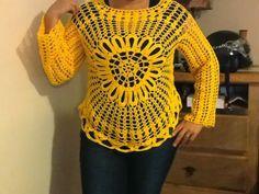 Andreia Lessa Tricô e Crochê: Enfim, terminei minha blusa amarela, baseada no modelo da Blusa Ana Maria Braga, mas com a flor no centro........