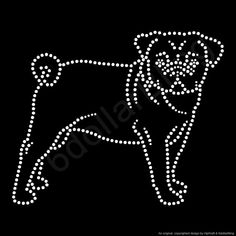 Rhinestone Iron On Transfer Pug Outline Dog Breed by 6dollarBling, $7.99