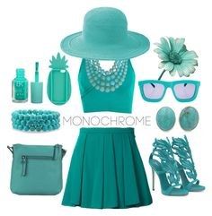 """""""Toe to Tip, that's Teal"""" by thevelosarahptor ❤ liked on Polyvore featuring Guild Prime, Topshop, Hadaki, Bling Jewelry, Exex Design, Humble Chic, San Diego Hat Co., Karen Walker and Miss Selfridge"""