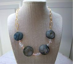 Storm Gray Shell and Glass Bead Necklace by ThreadedChains on Etsy, $20.50