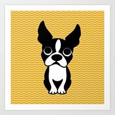 Boston terrier Art Print by EloisaD for my dog wall