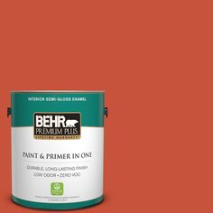 BEHR Premium Plus 1-gal. #bic-31 Fire Coral Semi-Gloss Enamel Interior Paint