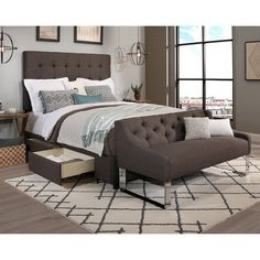 Republic Design House Queen Size Manhattan Grey Headboard, Storage Bed and Tufted Sofa Bench Collection (