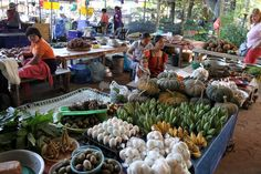 Laos - Vang Vieng to Vientiane - Village Market