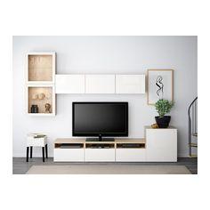 BESTÅ Tv-förvaring kombination/glasdörrar - vitlaserad ekmönstrad/Selsviken högglans/vit klarglas, lådskena, tryck-och-öppna - IKEA