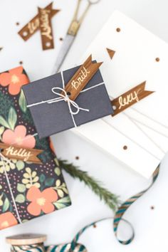 Wood Veneer Confetti and Gift Tag Flags from Sugar & Cloth