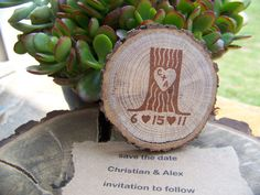 Rustic Save The Date Tree Stump Magnet