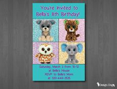 Beanie Boo Birthday Invitation