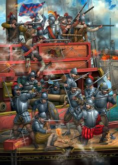 Painting by Angel García Pinto, done for Desperta Ferro magazine. It depicts the prow of a Spanish galley locked in action at Lepanto Historical Art, Historical Pictures, Historical Illustrations, Military Art, Military History, Battle Of Lepanto, Thirty Years' War, Early Modern Period, Landsknecht