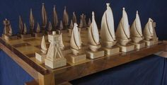 Chess set Sailboat Chess Set handmade on etsy hand carved chess sets chess pieces chess boards on Etsy, $750.00