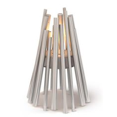Fireplace Heater, Stix Silver II now featured on Fab.  Wonderful form and function design elements.  Would it pass outdoor BV-CSA testing? Hm and I don't think so yet I love the concept.