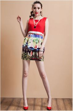 D8566 Spring Summer New 2014 European American Fashion Sleeveless Print Roman Red Tank Sexy Dress Free Shipping High Quality $21.85 - 22.85