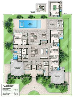 Florida House Plan with Options - 86043BW | 1st Floor Master Suite, Butler Walk-in Pantry, CAD Available, Corner Lot, Den-Office-Library-Study, Florida, Luxury, PDF, Southern, Split Bedrooms | Architectural Designs