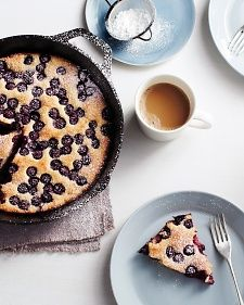 Oven-Baked Blueberry Pancake - sooo easy ad delicious!  I just added cut-up strawberries because I didn't have a full cup of blueberries and I think I like it even better!