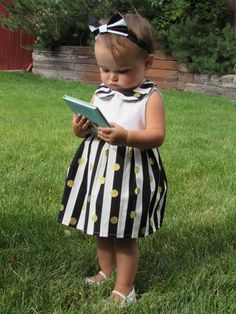 Black White and Gold Siz 12month Toddler Dress by RubiesAndKisses