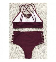 b75d9eb1ef598 Fashion Women's Wine Red Fabric texture Bikini set Beach Swimwear Bathing  Suit - CR182X2AL3G