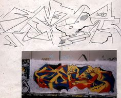 abstract [1989] graffiti utrecht (nl) Around 1989 I got kind of fed up with the graffiti-street culture, wanted to do something different and break free from it.