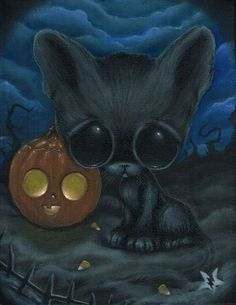 Sugar Fueled Black Cat Kitten Halloween Lowbrow Creepy Cute Big Eye Art Print | eBay
