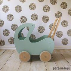Drewniany Retro Wózek - Miętowy z drewnem - zabawki - klocki i zabawki drewniane…