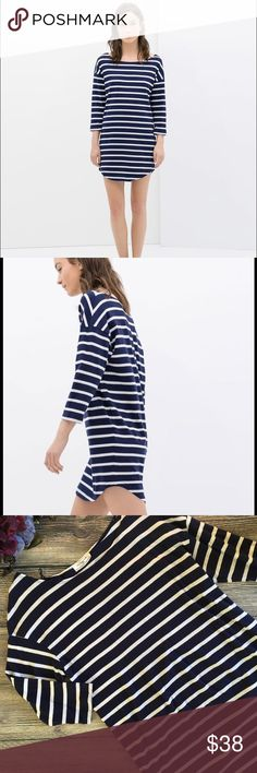 Zara Organic Cotton Striped Dress size medium Meet Lexie. She's an organic cotton midi dress that is great on her own or paired with leggings and an oversized sweater. Navy blue and white stripes. 3/4 length sleeves. 100% cotton. Machine washable. Size medium. (L4) offers warmly received. Zara Dresses Midi