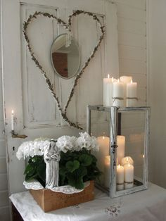 Lantern with multiple candles, crate with hydrangeas, heart Mason Jar Candle Holders, Lantern Candle Holders, Candle Lanterns, Flameless Candles, Romantic Candles, Best Candles, Christmas Home, White Christmas, Altar