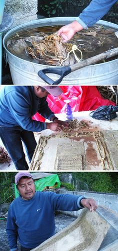 Amate paper making process - handmade paper in Mexico - Julio Chichicaxtle in San Pablito