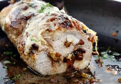 Melted cheese and perfectly caramelized onions are packed into this tender and juicy French Onion Stuffed Pork Loin. Slow Cooking, Cooking Recipes, Pork Tenderloin Recipes, Pork Recipes, Pork Loin Recipe, Pork Chops, Spareribs, Pork Ham, Gastronomia