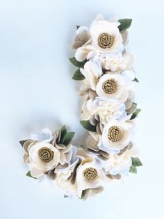 Are you dreaming up the loveliest nursery for your sweet little girl? Or perhaps youre planning the most elegant garden wedding? Which ever the occasion this flower letter is the perfect accent to any decor or event.  Each flower is hand cut from locally sourced felt and crafted to truly create a one of a kind piece. Due to the techniques used, no two items will ever be the same and will vary slightly from the photo. Each letter is made from a 12 wood base and the face is covered by felt. It…