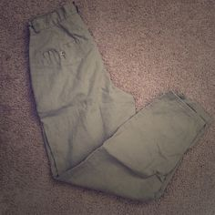 Olive Green High Waisted Linen Pants Like New Pants Ankle & Cropped