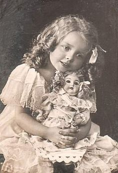 girls with dolls antique photo - Google Search