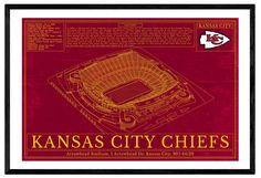 Unique NFL Football Stadium Blueprints Art - Kansas City Chiefs Arrowhead Stadium