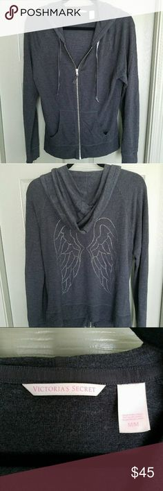 VS LOUNGE WEAR SZ MEDIUM JACKET & PANT VICTORIA'S SECRET LOUNGE WEAR.  HOODIE JACKET IS SIZE MEDIUM IN CHARCOAL GREY. IT HAS RHINESTONE ANGEL ONE THE BACK AND IT HAS NO STONES MISSING...  THE PANTS ARE SAME COLOR AND ALSO SIZE MEDIUM W/ DRAWSTRING & POCKETS..  FITTED ANKLE.  I'M ONLY SELLING BECAUSE I'VE LOST WEIGHT. IT'S SUPER SOFT AND COMFORTABLE...  THERE ARE NO STAINS, TEARS OR DEFECTS.   COMES FROM A SMOKE FREE AND PET FREE HOME!!! FRESHLY LAUNDERED.. Victoria's Secret Intimates…