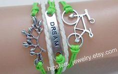 Charm bracelets leaves bike leather bracelet by Hipstersjewelry, $6.99