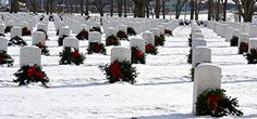 The Rock Island Illinois Arsenal National Cemetery. December on National Wreaths Across America Day, Rock Island Illinois, Veterans Cemetery, Wreaths Across America, National Cemetery, The Rock, Arsenal, December, Outdoor, Outdoors