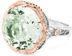 Tacori 18k925 Prasiolite Cocktail Ring  : Pale seafoam Prasiolite is the pretty pastel focus of this distinctive and subtly floral ring with a strong centerstone and bold shape. With slender sculptural and crescent details along its .925 silver frame, the Prasiolite is framed in 18k rose gold.