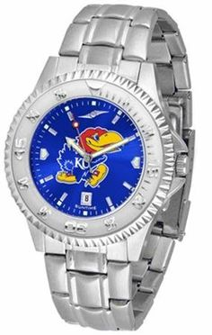 """Kansas Jayhawks NCAA Anochrome """"Competitor"""" Mens Watch (Steel Band) SunTime. $86.95. Calendar Date Function. Color Coordinated. Rotating Bezel. Save 21% Off!"""