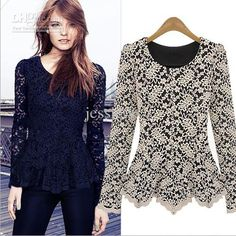 2013 Fashion Women Hollow Lace Cotton Shirt Long Sleeve Tank Tops Clothing Dress Black White XMAS, $13.09 | DHgate.com