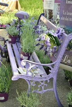 Lavender the plant and lavender the colour on a metal garden bench, wonderfully pretty look with a gorgeous aroma to match . Terrace Garden, Garden Chairs, Garden Furniture, Garden Art, Garden Benches, Small Garden Bench, Garden Painting, Outdoor Furniture, Beautiful Gardens