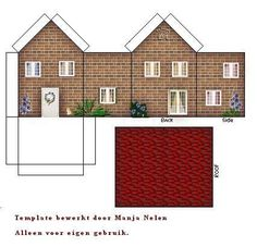 brick house - looks a bit like the ones in Victorian Santa sack Paper Doll House, Paper Houses, Box Houses, Putz Houses, House Template, Paper Towns, Christmas Villages, Miniature Houses, Paper Models
