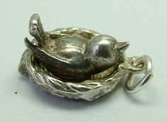 1960s English silver Nuvo charm of a bird on a nest that opens to reveal three eggs inside, LOVELY piece - 38gbp