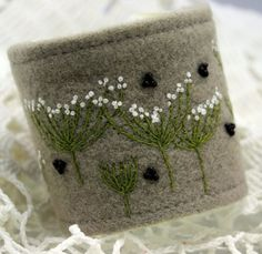 Fabric Cuff Textile Bracelet Wrist Hand Embroidery by Waterrose, $82.00
