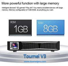 Toumei V3 3D Projector Features More powerful function with large memory Inteligent devices? 3D games? Play 4K? You need a excellent device with large memory. Memory configuration of 1GB+8GB, do anything you want. Know more information about Toumei V3, you can visit http://www.toumeipro.com/projector/v3-3d-intelligent-projector.html #ToumeiV3 #3Dprojector #Memory #Projectors